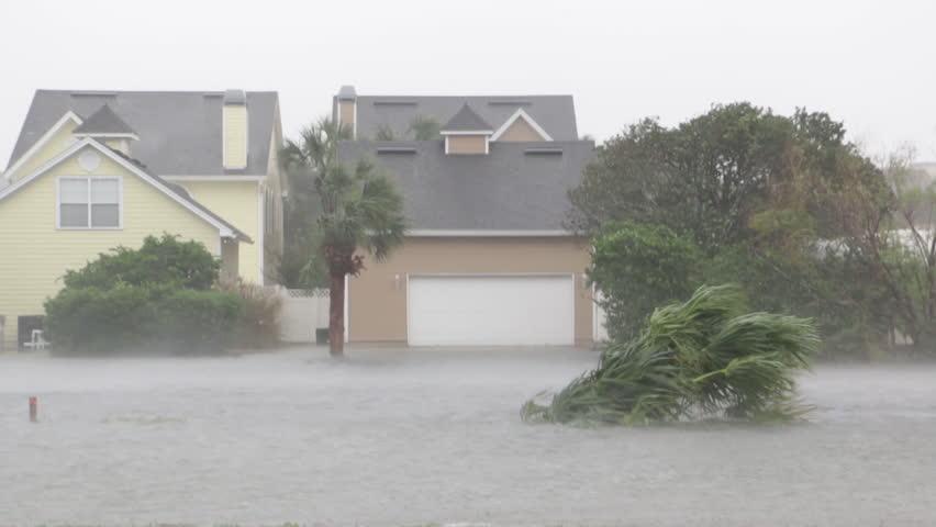 Hurricane Storm Surge Inundates Neighborhood