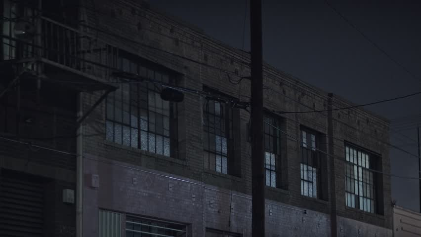 Warehouse Exterior at night in an industrial area