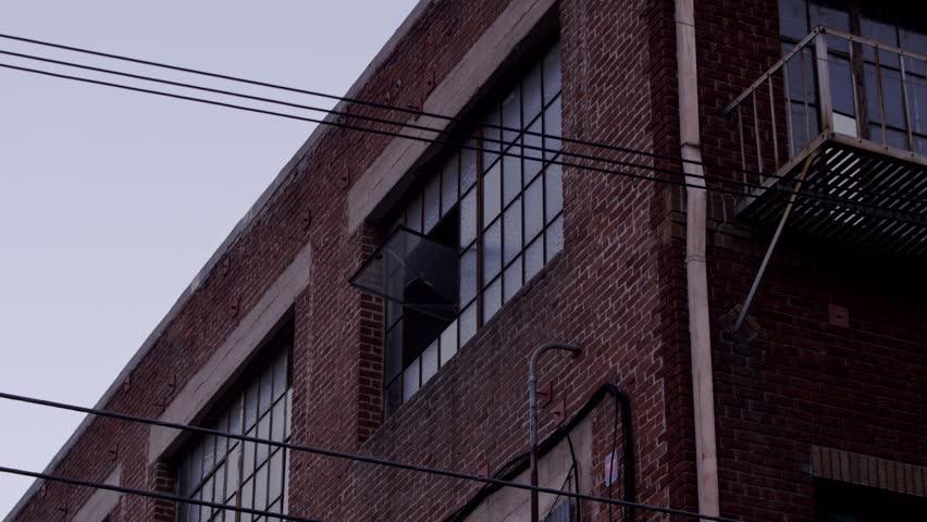 Warehouse window wide shot