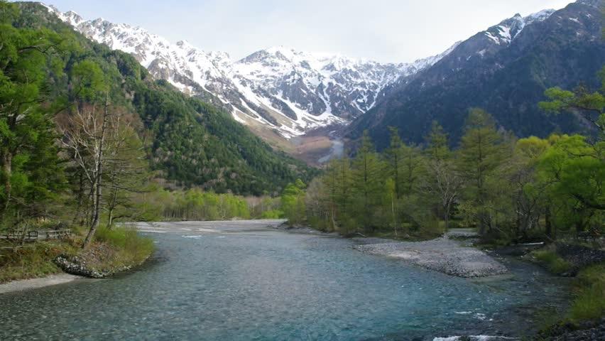 Kamikochi, Azusagawa river and Alps in fresh green season   Shutterstock HD Video #1010932988