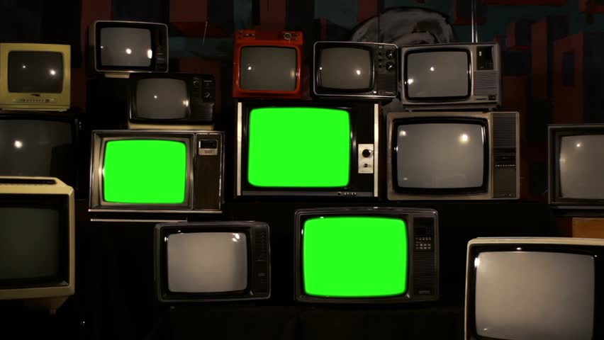 Exhibition Of Old Retro TV Sets With Green Screen. Zoom In. | Shutterstock HD Video #1010942981