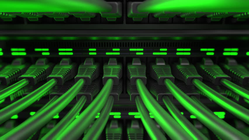 Close-up view of modern internet network switch with plugged ethernet cables. Blinking green lights on internet server.  Royalty-Free Stock Footage #1010946167