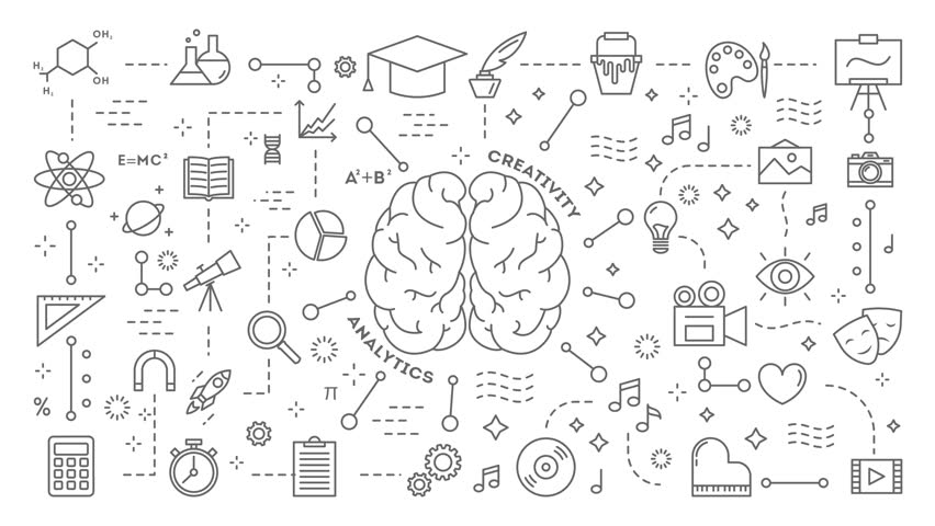 Human brain animation with icons appearing. Flat line motion graphic. | Shutterstock HD Video #1010975378