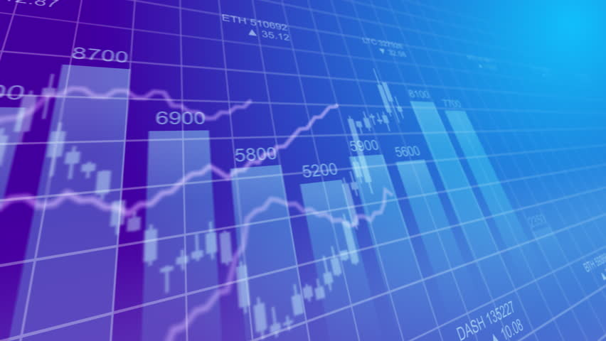 Bar graph of cryptocurrency stock exchange market indices animation 4k seamless looping video background. Abstract currency rate chart looped animated purple backdrop.