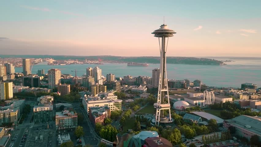 Seattle, Washington september-2017, Aerial view of Seattle at sunrise with Space Needle