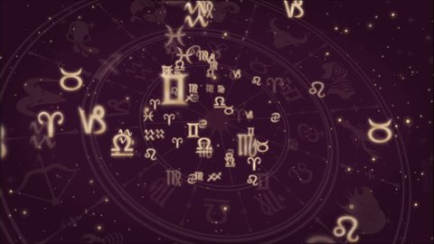Abstract background with Zodiac signs and horoscope wheel