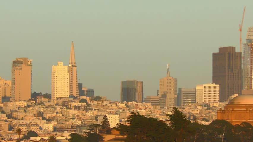 San Francisco skyline at sunset, as seen from Chrissy Field, California, USA | Shutterstock HD Video #1011016319