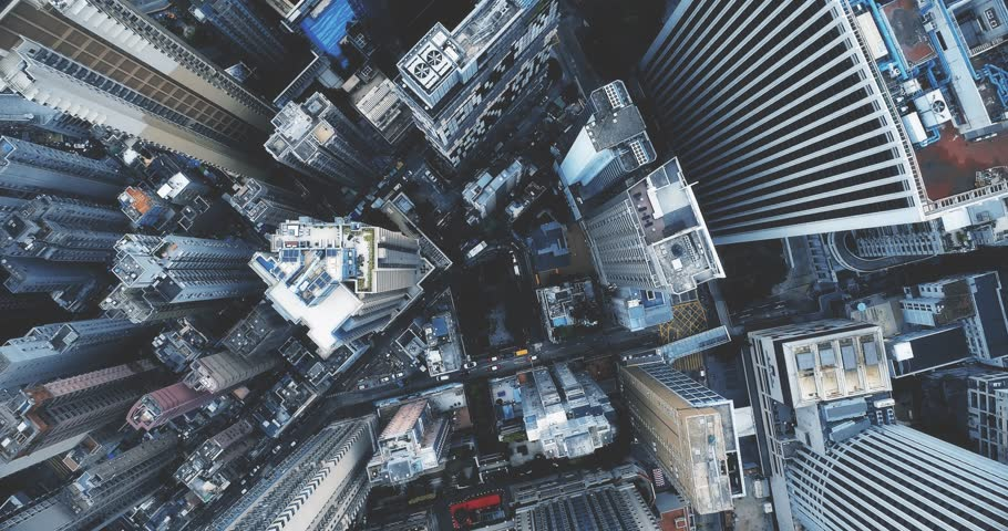 AERIAL. Cinematic blue style footage of Hong Kong city center at day time. | Shutterstock HD Video #1011019781