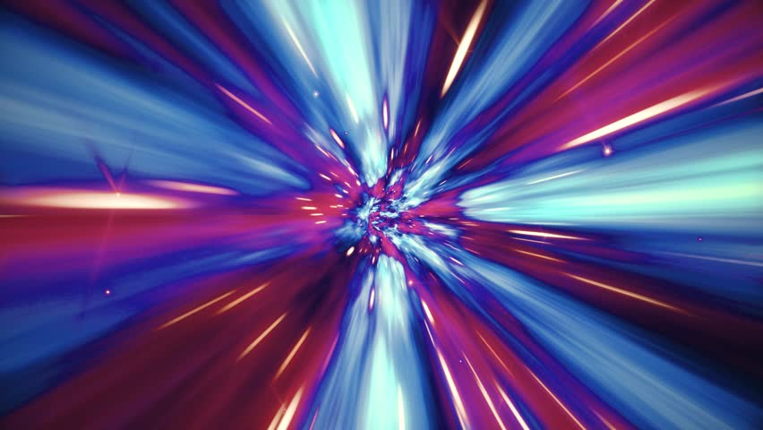Seamless loop of interstellar travel through a blue and red wormhole filled with stars. Space journey through time continuum. Warp in science fiction black hole vortex hyperspace tunnel