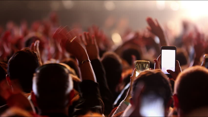 Concert crowd footage Iconic night neon rock concert cheering popular clapping hands social People lift clap hands heart led strobing Bulb stage stadium floodlights Canon EOS 5D Mark 4K Series Gallery Royalty-Free Stock Footage #1011038753