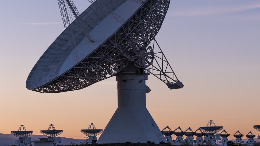 Time Lapse Radio Telescope Observatory Dishes Sunset Evening Stars 4k 4444 color space source