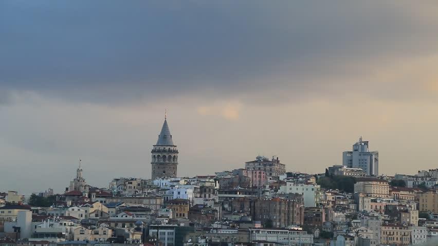 Galata Tower at Galata District of Beyoglu in Istanbul, Turkey #1011085187