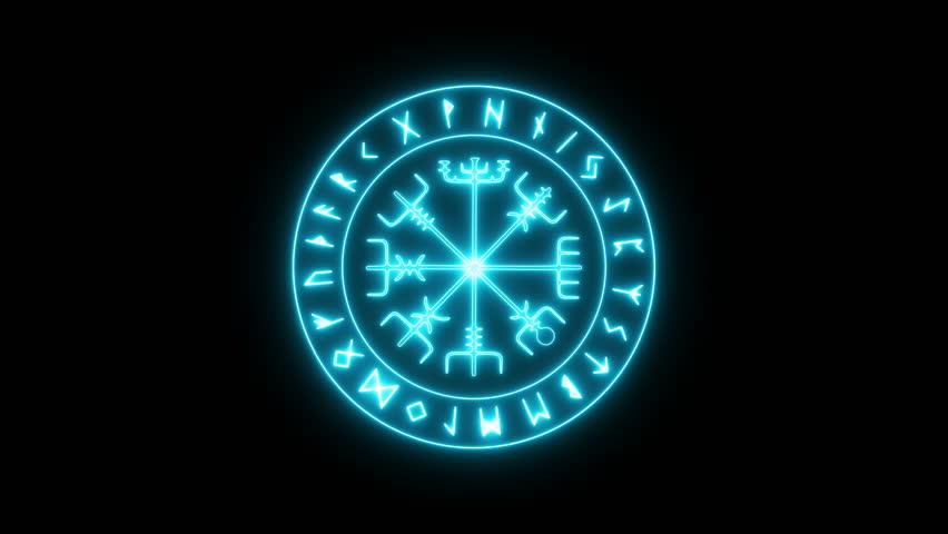 Runic Circle, Futhark. Loop, 4k.   Shutterstock HD Video #1011098261