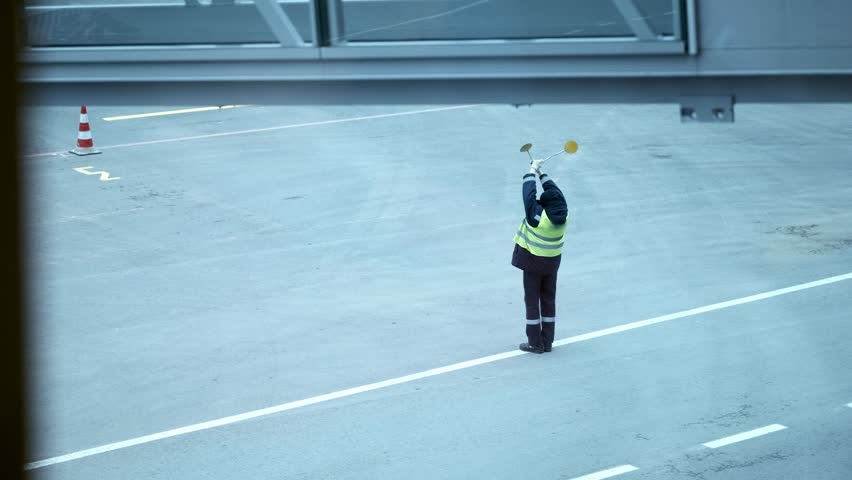 Airport Staff People Marshal Signaling Showing Direction International Airliner