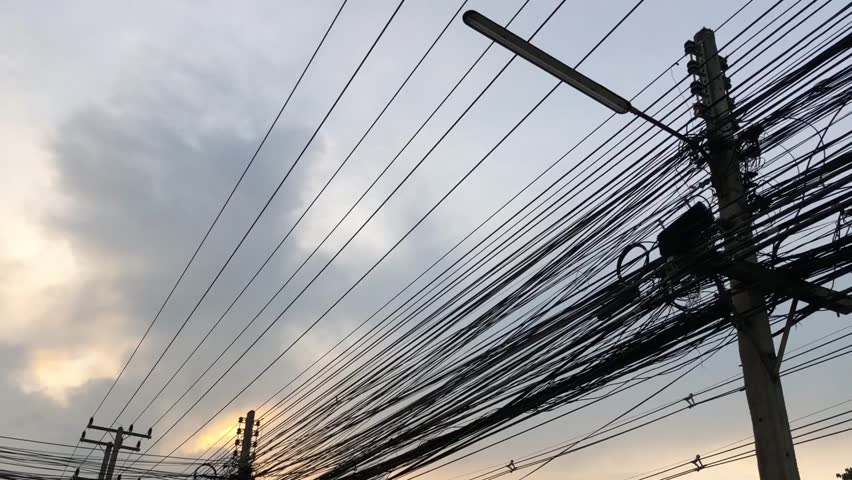 Electricity poles in Thailand. | Shutterstock HD Video #1011155738