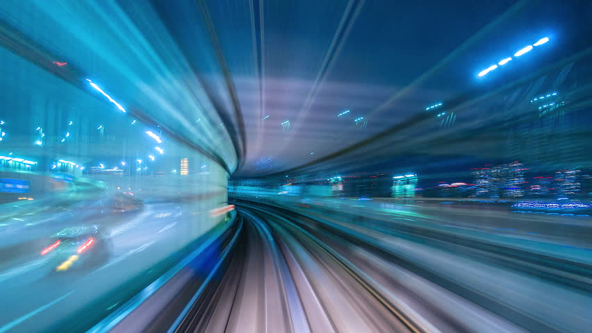 4K.Time lapse automatic train fast speed at Tokyo city of Japan | Shutterstock HD Video #1011157280
