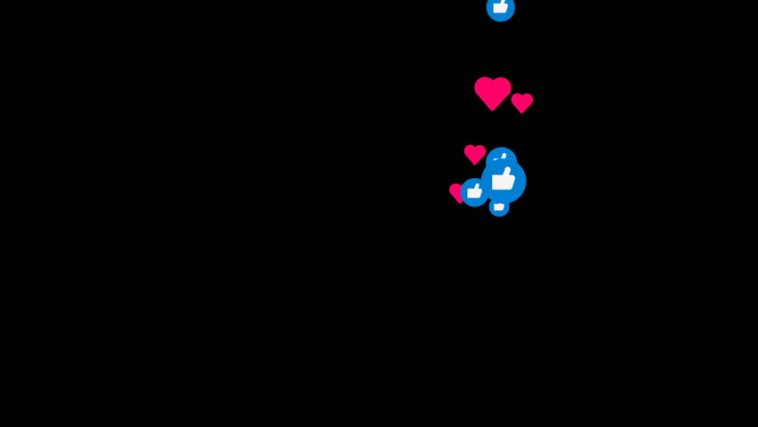 Like and heart icons pop up and flow up animation video with black background   | Shutterstock HD Video #1011186557