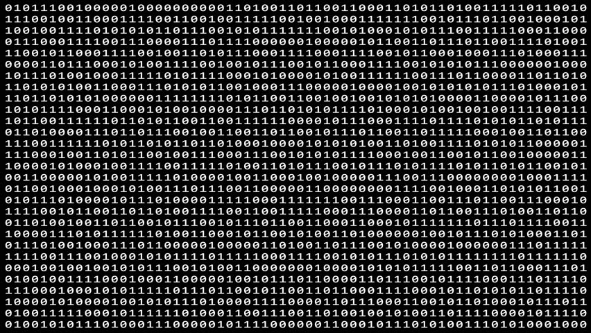 Loopable: Sharp white binary digital code abstract background with randomly changing zeros and ones isolated on black. (av42966c)   Shutterstock HD Video #1011195584