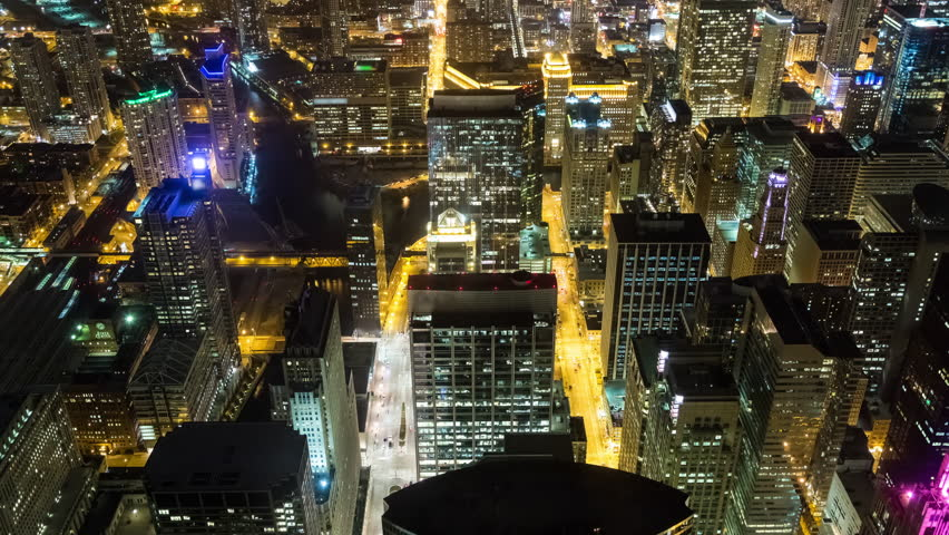 High Angle View of Buildings in Downtown Chicago at Night | Shutterstock HD Video #1011196853