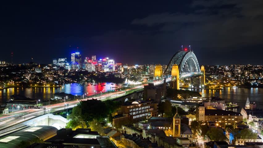Sydney Harbour Bridge and North Sydney at Night