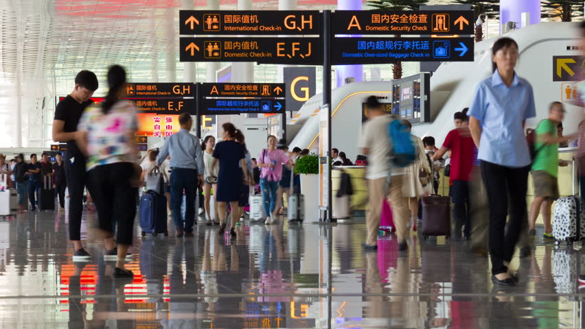 WUHAN, CHINA - SEPTEMBER 10 2017: wuhan city day time airport check-in zone crowded panorama 4k timelapse circa september 10 2017 wuhan, china.