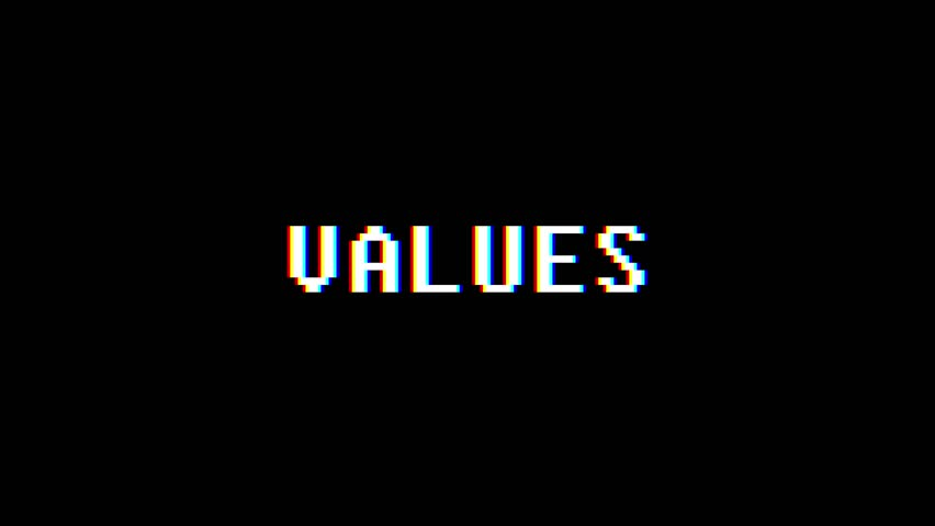 Retro videogame VALUES word text computer tv glitch interference noise screen animation seamless loop New quality universal vintage motion dynamic animated background colorful joyful video m | Shutterstock HD Video #1011206102