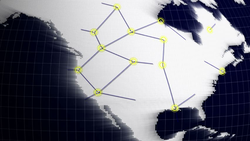USA, Connection Network Concept Animation, Rendering, Background, Loop, 4k