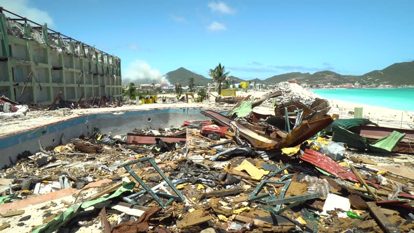 Philipsburg,Saint Martin-April 13,2018: Hurricane damage in Saint Martin. Hurricane Maria and Irma