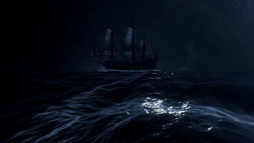 Sailing Ship Drifting in a Middle of a big Storm at Sea Royalty-Free Stock Footage #1011230717