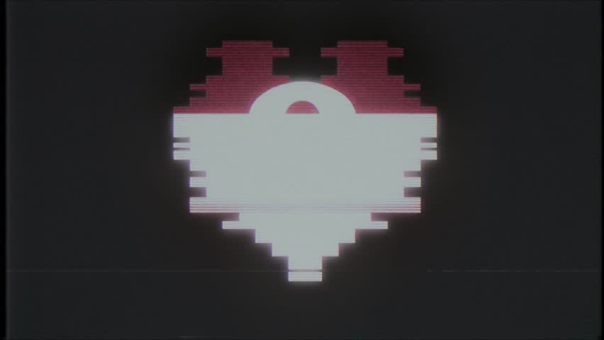 Pixel heart with question mark symbol glitch interference old tv vhs screen seamless loop animation background new dynamic retro vintage joyful colorful video footage | Shutterstock HD Video #1011243683