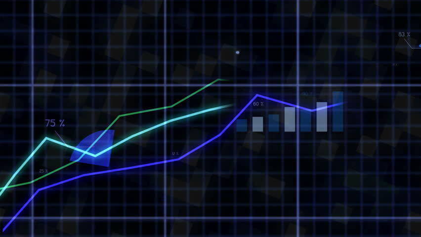 Growing chart in blue tone. Financial figures and diagrams showing increasing profits graph.  Pie chart,Bar chart,graphs,charts for your business media and presentation.