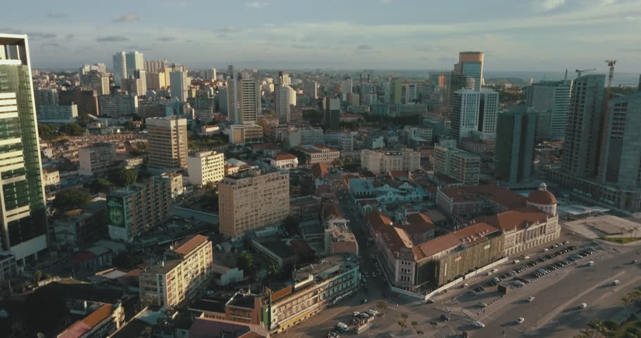 Aerial footage of Luanda's bay with sunset.