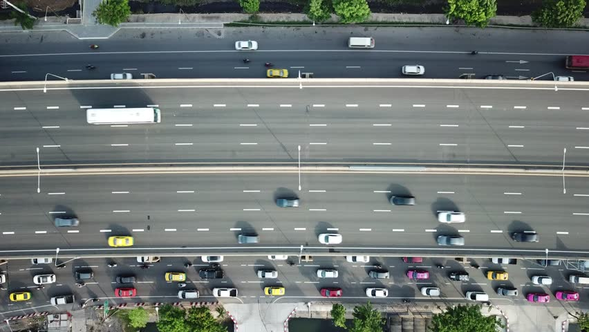 Aerial view of traffic on the highway (urban transportation) in the morning in Bangkok Thailand  #1011265820