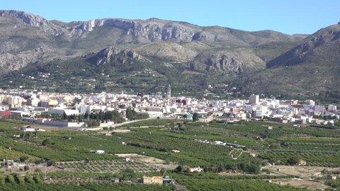 Panoramic view of Pego, Valles de Pego, Alicante, Valencia, Spa