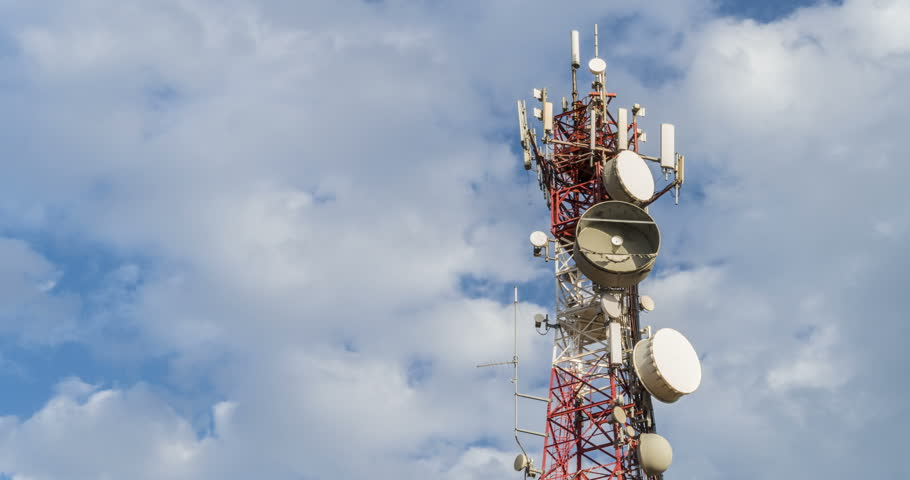 Telecom Antenna towers telecommunication , clouds time lapse  | Shutterstock HD Video #1011298187