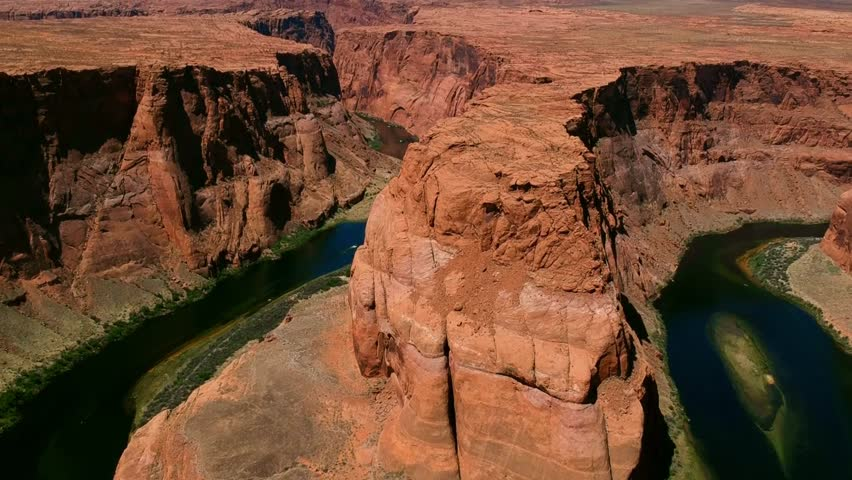 AERIAL VIEW of HORSESHOE BEND in ARIZONA - COLORADO RIVER, GLEN CANYON, GRAND CANYON - DRONE SHOT