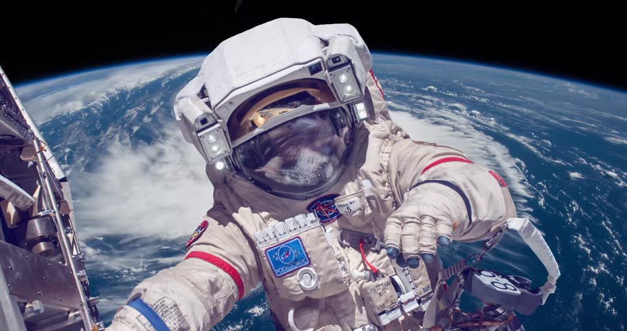 Astronaut Space Walk Ower Earth4K animation. Some elements furnished by NASA images. Roskosmos | Shutterstock HD Video #1011333515