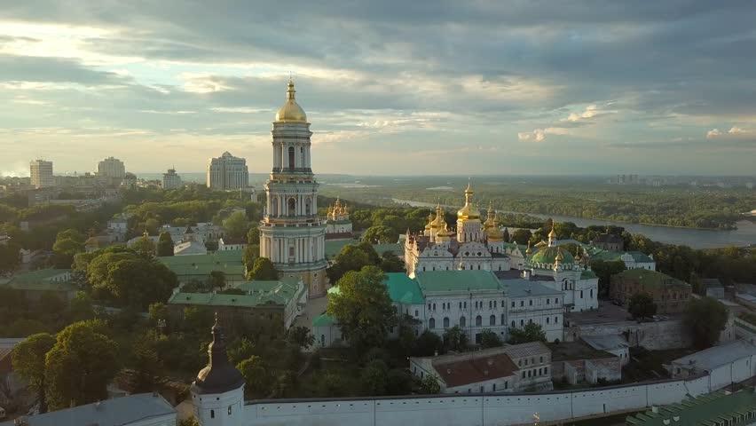 Aerial view of Kiev Pechersk Lavra in Kyiv, Ukraine