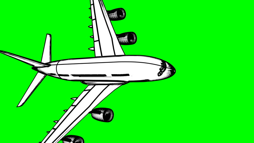 Commercial jet animated in cartoon style, 13 different instances on green screen, can be used for transitions, background animation etc. 3d render