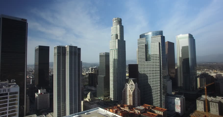Aerial Drone of Downtown Los Angeles Skyline 4K | Shutterstock HD Video #1011388289