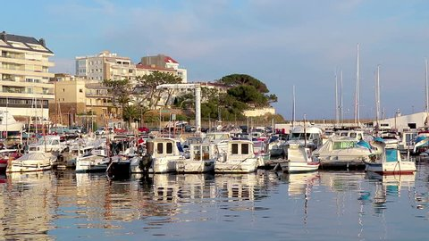 Harbor in a small Spanish town Palamos, 18. 05. 2018 Spain