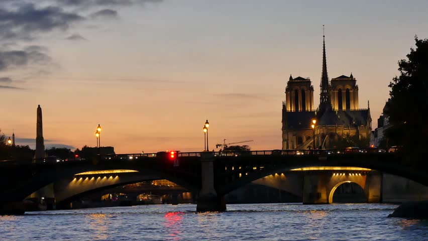 Sunset in Paris, view from the river