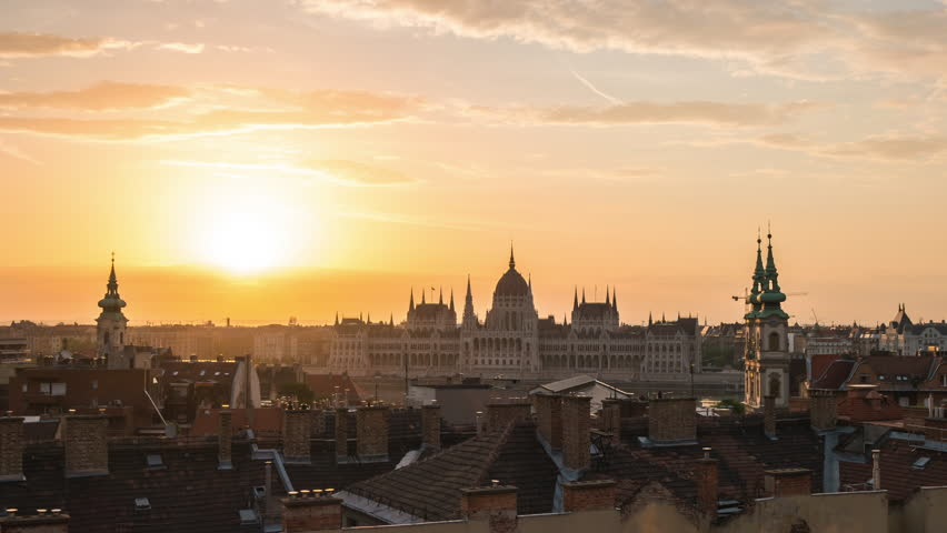 Night to day timelapse of Hungarian Parliament Building with Budapest city skyline in Hungary, time lapse 4K | Shutterstock HD Video #1011406952