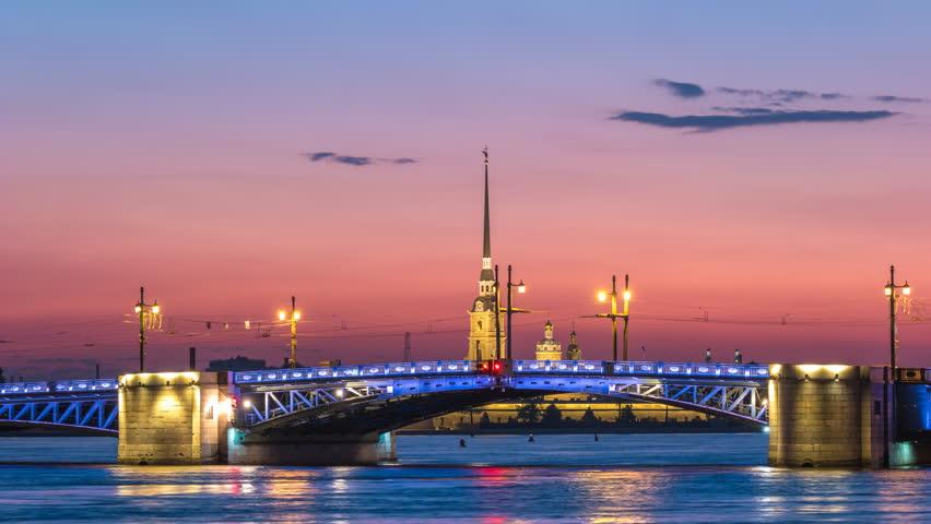 Saint Petersburg city skyline night timelapse at Palace Bridge, Saint Petersburg Russia 4K time lapse