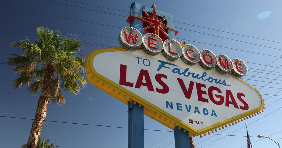 Las Vegas, USA - May 18, 2017:  Las Vegas neon welcome sign in Nevada.  Las Vegas is know for its casino gambling, night life entertainment and the tourist vacation hotels on the strip. | Shutterstock HD Video #1011482756