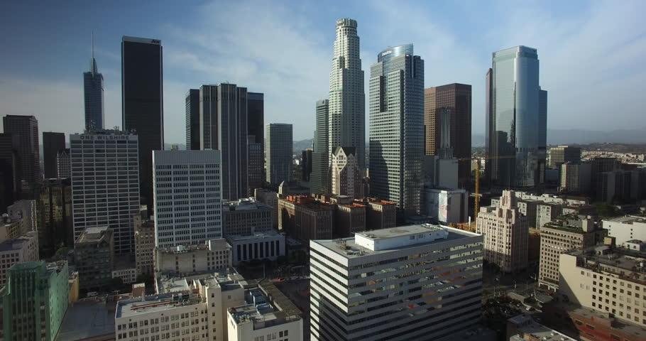Aerial Drone of Downtown Los Angeles Skyline 4K