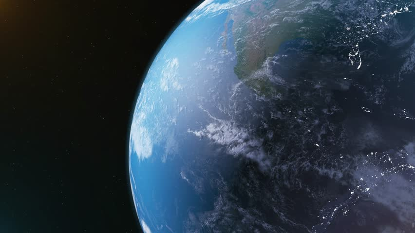 4K realistic Earth rotation with the Sun. Night and Day.  | Shutterstock HD Video #1011484937