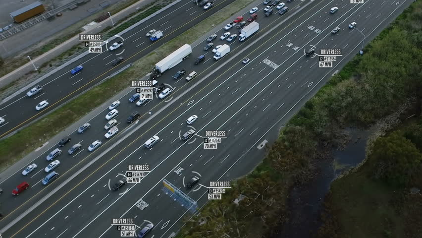 Driverless or autonomous car aerial view. Traffic passing by a highway. Miles per hour and fake data displaying. Future transportation. Artificial intelligence. Self driving.  | Shutterstock HD Video #1011485645