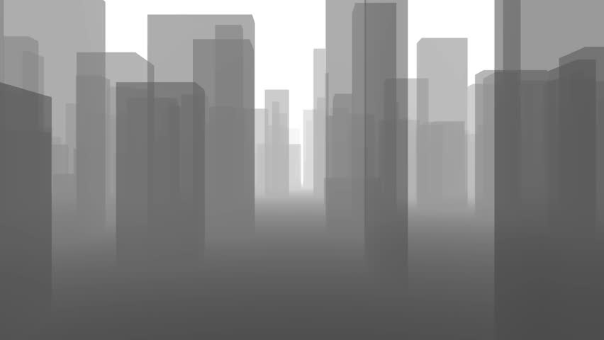 Flythrough a Gray City Skyline in 4K. It is Looping and it to the Background it is disappearing in a kind of Mist, like dust or Smog. Useful as Background for many different Applications (3d rendering | Shutterstock HD Video #1011486674