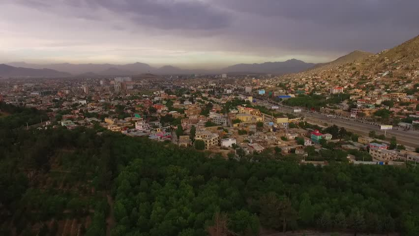 Aerial footage from Kabul City, Taken from the west of Kabul close to Intercontinental Hotel. footage of the city that you can have a view the front the entire city and Presidential House.